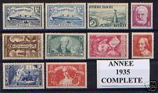 FRANCE STAMP ANNEE COMPLETE 1935 NEUVE xx TTB , 10 TIMBRES , VALEUR: 718€
