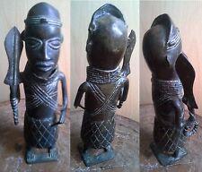 SPLENDIDE STATUE STATUETTE ROI GUERRIER BENIN NIGERIA BRONZE-ART TRIBAL AFRICAIN