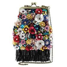Mary Frances Party Time Black Floral Flower Multi Beaded Bag Snap Handbag NEW