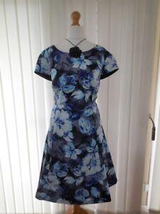 NEW Ladies Gorgeous KALIKO Black & Blue Flower Print Dress - Size 20