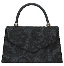 Women Kendall Satin Lace Envelope Ladies Evening Party Prom Bridal Clutch Bag