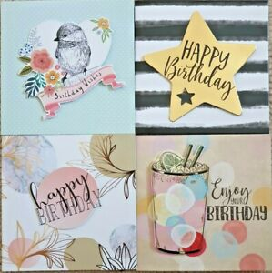 Pack of 4 Handcrafted Mixed Assorted Happy Birthday Cards Female & Male Card
