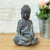 Antique Cement Sitting Buddha Home Tea Light Votive Candle Holder Ornament Gift