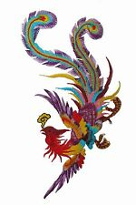 "#5082P 10-1/4"" Purple Colorful Phoenix,Peacock Bird Embroidery Appliqué Patch"