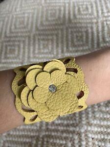 Unique Handmade Boho Soft Leather Bracelet - Yellow Flower
