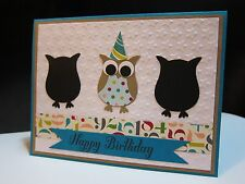 "Stampin Up ""HAPPY BIRTHDAY"" Owl Punch Handmade Card"