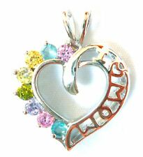 """GIFT for MOM: """"I LOVE MOM"""" Heart Pendant Colorful CZ Gems .925 STERLING SILVER"""