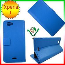 Custodia eco pelle specifica  per Sony Xperia J ST26i martellata AZZURRO stand