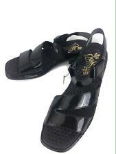 RIEKER Anti Stress Women's Black Patent Sandals Comfort Shoes Size EU 42 - US 10