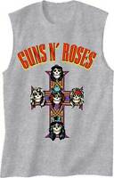 GUNS N ROSES GNR ARCHED LOGO CROSS APPETITE MUSIC ROCK METAL MUSCLE SHIRT S-2XL