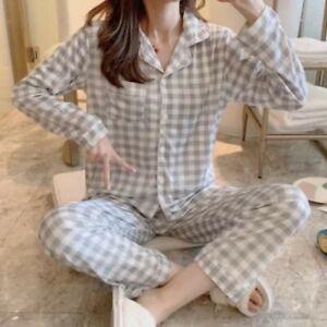 Ladies Women Pyjamas Set Long Sleeve Night wear Lounge Wear Pajamas Pjs Sleep D5
