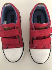 Tommy Hilfiger Toddler Boys Lil Cormac Oxford Canvas Tennis Shoes Size 8 Red Str