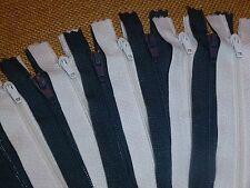 "10 x White & Dark Grey 8"" / 20cm Closed End Dress / Craft Zips ( WG8/10 )"