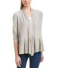 NEW Max Studio Beige Cotton Blend Cardigan, Ruffle Trim,  Size XL, NWOT $98