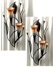 "Set of 2 ** Shimmering ** 12.5"" DAWN LILY SCULPTURED TEALIGHT WALL SCONCES**NIB"