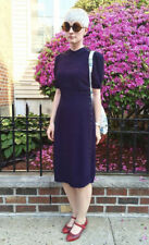 Vintage 1940s 1930s Navy Purple Rayon Crepe Buttons Dress