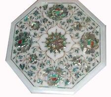 12'' White Marble Corner Table Top Semi Precious Stones Inlay Floral Design