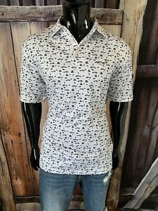 """Peter Millar Short Sleeve White Polo Shirt Size Large """"Cars & Bow Ties"""" NWOT"""