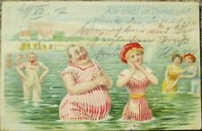 Bathing Beauty & Fat Man at Beach 1902 Risque Color Litho Postcard