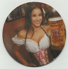 Sexy Paulaner Bier COASTER - Busty German Girl - Munchen Beer