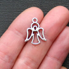 10 Angel Charms Antique Silver Tone 2 Sided - SC784