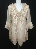 NWT PRETTY ANGEL SILK BLEND VINTAGE BOHO LAYERED BLOUSE TUNIC TOP SZ S,M,L,XL