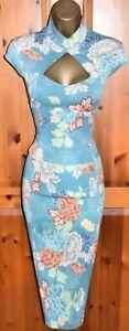 KAREN MILLEN STUNNING RARE AQUA TURQUOISE ORIENTAL WIGGLE PENCIL DRESS UK 12