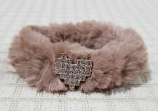 FURRY PONYTAIL HOLDER LIGHT BROWN WITH HEART CHARM HAIR ACCESSORY