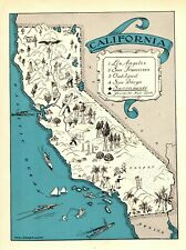 1930s Antique CALIFORNIA State Map RARE Animated Picture Map BLU 6888