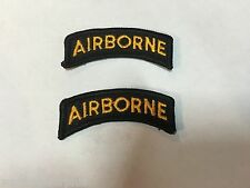 Lot of 2 U.S Army Airborne Tab Patch 82nd 173rd 101st Uniform Black & Yellow ABN
