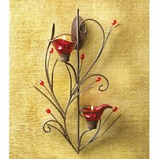 Red Glass Calla Lily Flower Wall Candle Tealight Holder Sconce Romantic Art