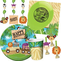 SAFARI ADVENTURE Birthday Party Range - Jungle Animals Tableware & Decorations