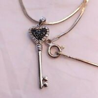 "Key to Your Heart 925 Silver Rhinestone Pendant on 18"" Italy Sterling Chain"