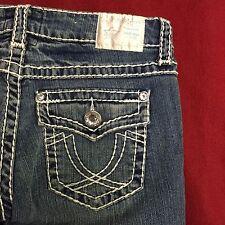 L.A. Idol USA White Stitching Medium Wash Rhinestone Capris Size 9 Length 20 GUC