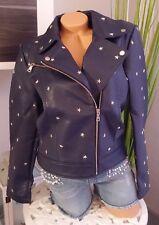 Amy Vermont Lederimitatjacke 42 44 46 48 Jacke mit Sternen Nieten blau marine