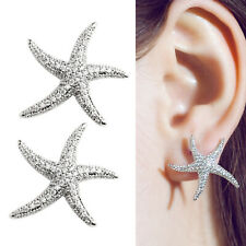 925 Sterling Silver Paved CZ SEA STAR Starfish Stud Statement Stud Earring