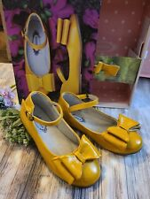NEW HTF Joyfolie Loralie Mustard Yellow Bow Shoes Youth 1 2 Boutique Pie MJ