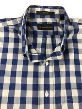 Allen Edmonds Blue & Gray Gingham Dress Shirt Size XL