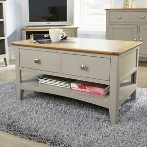 Modern Grey Solid Wood 2 Drawer Rectangle Coffee Table Living Room Furniture