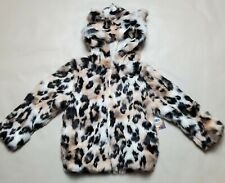 NWT Girls Members Mark Kids My Favorite Plush Jacket Cheetah Print 4T Hooded