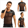Mens Short Sleeve Tank Top Shirt Sexy Faux Leather Mesh Splice T-Shirt Clubwear