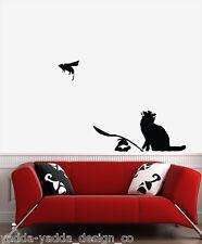 "WALL - Banksy Style - Ratapult Cat & Rat - Wall Vinyl Decal (30""w x 22""h) BLACK"