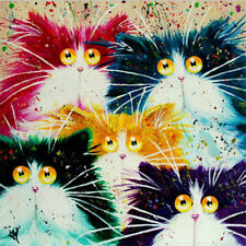 1set diy oil painting by numbers abstract acrylic paint animal color cats decorT