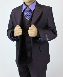 Boys Plum Suit 3 Piece Wedding Prom Page Boy Baby Formal Party Age 1 to 15 Year