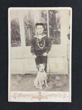 Victorian Cabinet Card: Young Boy Sailor Seascout?  Greenhouse With Dog