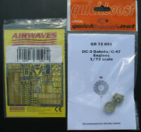 Quickboost QB72051 - DC-3 / C-47 Resin Engine + AIRWAVES 72190 Photo Etched 1:72