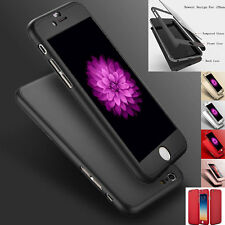 360° Hybrid Tempered Glass + Acrylic Full Hard Case Cover For iPhone 6 6S 7 Plus