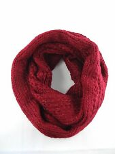 Burgundy knit infinity scarf bulky loop cowl snood head wrap