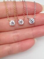 Sterling Silver 925 Cz Solitaire Pendant Necklace Womens 5.5mm