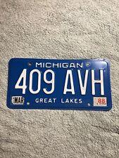 March 1988 Michigan License Plate 409 AVH